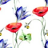 Floral seamless pattern with garden flowers. Watercolor painting Royalty Free Stock Image