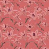 Floral seamless pattern with gentle flowers lily Stock Photos