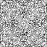 Floral seamless pattern Geometric flower fractal ornament Stock Photo
