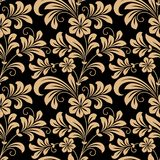 Floral seamless pattern with gold flowers. On dark red in square format for wallpaper, background design Stock Images