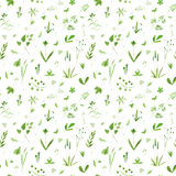 Floral seamless pattern of a green flowers,herbs and insects. Buttercup, cornflower, bluebell,bulrush, berry and snowdrop. Watercolor hand drawn illustration vector illustration