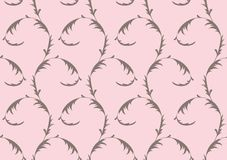 Floral seamless pattern in grey on pink background. Illustration Royalty Free Stock Photo