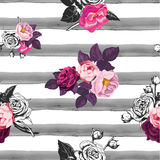 Floral seamless pattern with half colored bunches of flowers and gray hand painted watercolor stripes on background Stock Photos
