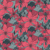 Floral seamless pattern on with hand drawn clematis flowers Royalty Free Stock Photos