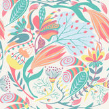 Floral seamless pattern. Hand drawn creative flower. Colorful artistic background with blossom. Abstract herb Stock Photo