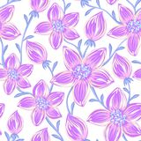 Floral seamless pattern. Hand drawn creative flowers. Artistic background with blossom. Abstract herb. It can be used for wallpaper, textiles, wrapping, card Stock Photos