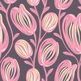 Floral seamless pattern. Hand drawn creative flowers. Colorful artistic background with blossom. Abstract herb. It can be used for wallpaper, textiles Stock Photography