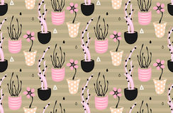 Floral seamless pattern. Hand drawn creative flowers in pots. Artistic background with blossom. Abstract herb Stock Image