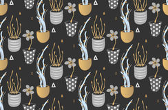 Floral seamless pattern. Hand drawn creative flowers in pots. Artistic background with blossom. Abstract herb Royalty Free Stock Image