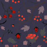 Floral Seamless Pattern. Hand Drawn Creative Sprays with berries. Colorful artistic design on purple background, blossom. Forest Berry, Christmas Brier Spray Royalty Free Stock Images