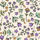 Floral seamless pattern. Seamless pattern of hand -drawn floral elements. Textile print Royalty Free Stock Image