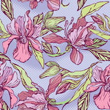 Floral Seamless Pattern with hand drawn flowers -  Royalty Free Stock Photo