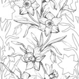 Floral graphic seamless pattern with hand drawn flowers daffodils, stock photography