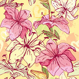 Floral Seamless Pattern with hand drawn flowers -  Royalty Free Stock Photos