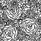 Floral seamless pattern with hand drawn flowers Stock Image