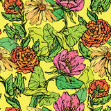 Floral Seamless Pattern with hand drawn flowers Stock Photos