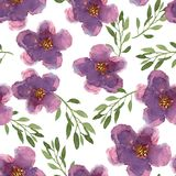 Floral seamless pattern with hand drawn lilac flowers in waterco Stock Images