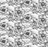 Floral seamless pattern with hand drawn lotus flowers and leaves Royalty Free Stock Photos