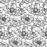 Floral seamless pattern with hand drawn lotus flowers and leaves Royalty Free Stock Photography