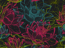 Floral seamless pattern with hand drawn lotus flowers and leaves Royalty Free Stock Image