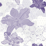 Floral seamless pattern with hand drawn orchids .Vector design. Stock Photography