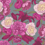 Floral seamless pattern with hand drawn purple and white peonies, crimson lilies. Royalty Free Stock Photography