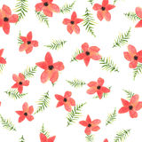 Floral seamless pattern with hand drawn red flowers and green le Stock Images