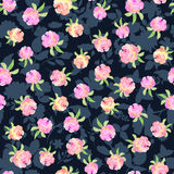Floral seamless pattern with hand drawn roses in watercolor on b. Lack background with silhouettes of flowers . Design for print, wallpaper, textile Stock Image