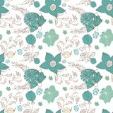 Floral seamless pattern. Hand drawn vintage flowers and leaves royalty free illustration