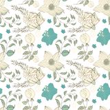Floral seamless pattern. Hand drawn vintage flowers and leaves. Vector floral set royalty free illustration