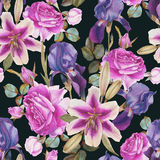 Floral seamless pattern with hand drawn watercolor lilies, roses and iris Royalty Free Stock Photos