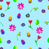 Floral seamless pattern.Hand painted daisies and tulips plum. Bright watercolor illustration.Colorful flowers end eggs on blue. Background.Spring wallpaper. For Royalty Free Stock Photos
