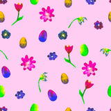 Floral seamless pattern.Hand painted daisies and tulips plum. Bright watercolor illustration.Colorful flowers end eggs on pink. Stock Image