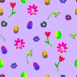 Floral seamless pattern.Hand painted daisies and tulips plum. Bright watercolor illustration.Colorful flowers end eggs on purple. Stock Image