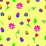 Floral seamless pattern.Hand painted daisies and tulips plum. Bright watercolor illustration.Colorful flowers end eggs on yellow Stock Image