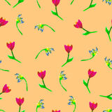 Floral seamless pattern. Hand painted tulips plum. Bright watercolor illustration. Floral seamless pattern. Hand painted tulips plum. Bright watercolor  Stock Photography
