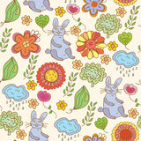 Floral seamless  pattern with hare. Floral seamless funny pattern with hare Stock Photo
