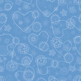 Floral seamless pattern with hearts Royalty Free Stock Photos