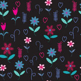 Floral  seamless pattern with hearts and flowers.  Stock Photo