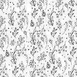 Floral seamless pattern. Herbs and wild flowers print. Abstract hand sketched floral collection. Lovely flowers and leaves branches vector illustration Stock Illustration