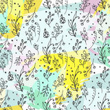 Floral seamless pattern. Herbs and wild flowers print. Collorful splashes hand sketched floral collection. Lovely flowers and leaves branches vector Vector Illustration