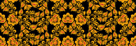 Floral seamless pattern, hohloma drawing style Royalty Free Stock Images