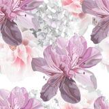 Floral seamless pattern with hydrangea,azalea vector illustration stock photo
