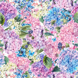 Floral seamless pattern with Hydrangea Royalty Free Stock Images