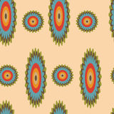 Floral seamless pattern - Illustration. Bright floral seamless pattern with elements of a circle on a yellow background Stock Image