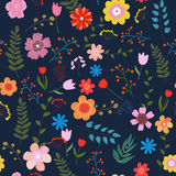 Floral seamless pattern. Illustration of floral seamless. Isolated colorful flowers and leaves on blue background Royalty Free Stock Image