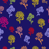 Floral Seamless Pattern - Illustration. Whole standard with decorative flowers Royalty Free Stock Photography
