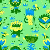 Floral seamless pattern with insects. Background of abstract flowers and leaves, butterfly, bug, bee. Vector illustration in decorative flat style. Background stock illustration