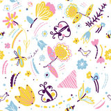 Floral seamless pattern with insects and birds Stock Image