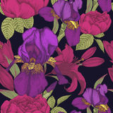 Floral seamless pattern with iris, lilies and roses. Vector. Background in vintage style Stock Photography